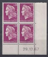 MARIANNE CHEFFER N° 1536 - Bloc De 4 COIN DATE - NEUF SANS CHARNIERE - 29/12/67 - Coins Datés
