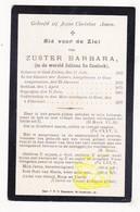 DP EZ Juliana De Coninck - Zr. Barbara ° Oosteeklo Assenede 1855 † Klooster Zrs. Josephienen Gent 1907 - Devotion Images