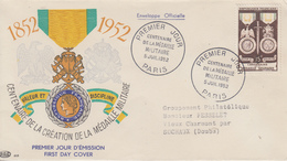 Enveloppe  FDC  1er  Jour    FRANCE   Centenaire  De  La  Médaille  Militaire  1952 - 1950-1959