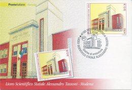 ITALIA - FDC MAXIMUM CARD 2006 - LICEO TASSONI - ANNULLO SPECIALE MODENA - Cartoline Maximum