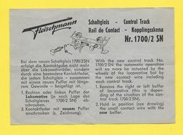 Planche Fleischmann 1960/61  SN 1700 / 2 - Printed In GERMANY - Trains Rail De Contact - Trains électriques