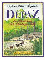 Etiquette   RHUM  Blanc Agricole DEPAZ - Plantations Montagne Pelée - 50° 100cl - MARTINIQUE - - Rhum