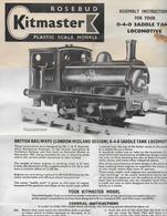 Planche ROSEBUD TRAIN MINIATURE KITMASTER ,   Assembly Instructions LOCOMOTIVE - Trains électriques