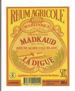 Etiquette Rhum  Blanc Agricole  - La Digue - Madkaud, Lorrain - A.O.C. -  MARTINIQUE - - Rhum