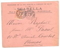 MARSEILLE Lettre Entête SCARELLA Distillerie San Remoise Fabrique SIROPS 15c Mouchon Yv 117 Ob 1901 - Facturen