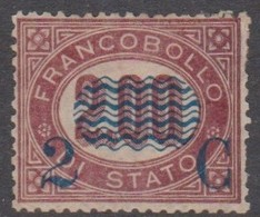 Italy S 34 1878 Official Stamps Surcharged In Blue 2c On 2.00 Lake, Mint Hinged - Mint/hinged