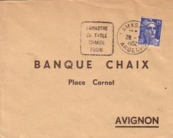 ARDECHE - DAGUIN - LAMASTRE / SA TABLE / CHASSE / PECHE  - LE 28-2-1952- GANDON 15F. - Postmark Collection (Covers)