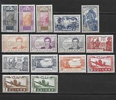 GUINEE 1922 - 1939 - Poste Et Poste Aérienne 15 Timbres **  Cote : 20 Euros - Guinée Française (1892-1944)