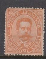 Italy S 39 1879 King Humbert I, 20c Orange, Mint Hinged, Fault - 1878-00 Umberto I
