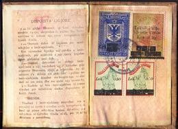 ALBANIA - REFUGEES CIVILE DOCUMENT + TAX  STAMPS - COMPLETE - 1947 - RARE - Rifugiati