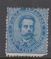 Italy S 40 1879 King Humbert I, 25c Blue, Mint Hinged, Fault - 1878-00 Umberto I