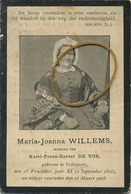 Maria-Joanna Willems :  VOLLEZELE  1803 -  1903  (  Zie Scans ) - Images Religieuses