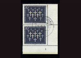BRD 1969, 2 X Michel-Nr. 586, 50 Jahre Volksbund Deutsche Kriegsgräberfürsorge, Eckrand Rechts Unten Mit Formnummer 1 - BRD