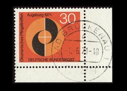 BRD 1971, Michel-Nr. 679, Ökumenisches Pfingsttreffen Augsburg 30 Pf., Eckrand Unten Rechts, Gestempelt - BRD