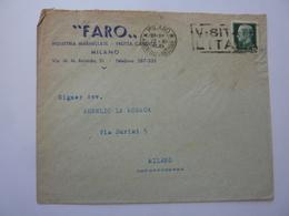 """Busta Viaggiata  Pubblicitaria """"FARO INDUSTRIA MARMELLATE - FRUTTA CANDITA MILANO"""" 1941 - 1900-44 Vittorio Emanuele III"""