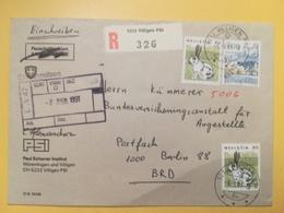 1991 BUSTA SVIZZERA HELVETIA SUISSE BOLLO ANIMALS SIMBOLS ANNULLO VILLIGEN ETICHETTA RACCOMANDATA TIMBRO EINSCHREIBEN - Storia Postale