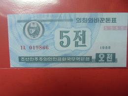 COREE(NORD) 5 CHON 1988 PEU CIRCULER/NEUF - Corée Du Nord