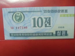 COREE(NORD) 10 CHON 1988 PEU CIRCULER/NEUF - Corée Du Nord