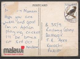USED POSTCARD , VIEW CARD MALAWI TO PAKISTAN - Malawi