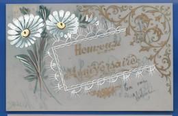 Carte En Celluloid    Peinture Fleurs    Heureux Anniversaire    écrite En 1906 - Fantaisies