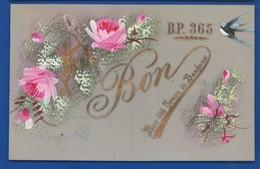 Carte En Celluloid    Peinture Fleurs  Hirondelle   Bon Pour 365 Jours De Bonheur      écrite En 1910 - Fantasia