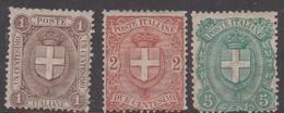 Italy S 65-67 1896 King Humbert I, 5c Coat Of Arms, Mint Hinged - 1878-00 Umberto I