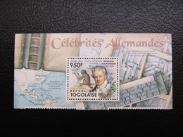 Togo, 2011, German Celebrities, A. Humboldt, Map, Books, Typography - Togo (1960-...)