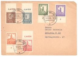 Postcard With West-Saxonia Complete Set 8.12.1945 Borsdorf To Leipzig - Sowjetische Zone (SBZ)