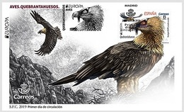 Spain 2019 FDC Birds  Bearded Vulture Bird EUROPA Oiseaux Oiseau - Aquile & Rapaci Diurni