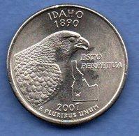 USA -  1/4 Dollar 2007  -  Idaho  - état SUP  -  1 Petit Coup Tranche - 1999-2009: State Quarters