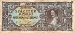 100000 Pengö Ungarn 1945 VF/F (III) - Ungarn