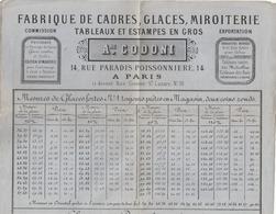 PARIS, 14 Rue Paradis Poissonnière - Rue Grenier St. Lazare : Prix-courant De La Fabrique De Cadres, Glaces .. A. CODONI - France