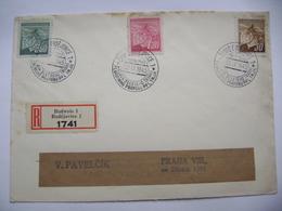 R-letter Budejovice Budweis 30.IX.1945 Commemorative Postmark Oslava 31leteho Trvani Plukovniho Praporu PPL 1914-1945 - Tschechoslowakei/CSSR
