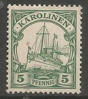 German Caroline Islands - 1923 Kaiser's Yacht 5pf  No Gum   Sc 22 - Colony: Caroline Islands