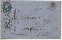 """Facteur """"B"""" Pour RIOLS, Poste De St PONS (Hérault) Destination LIMOUX Sur AUDE En Septembre 1862 - 1862 Napoléon III"""