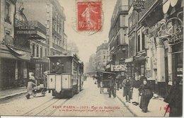 CPA TOUT PARIS 1603 - Tramway Théatre Populaire Rue De Belleville  (XIXème Et XXème Arrt) Editeur FLEURY - Arrondissement: 20