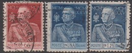 Italy S 189-191 1925 King Victor Emmanuel III, Perf 11, Used - 1900-44 Vittorio Emanuele III
