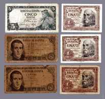 ESPAGNE  3 Billets De 5 Pesetas Et 3 Billets De 1 Peseta - [ 3] 1936-1975 : Régence De Franco