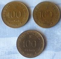 TRES MONEDAS DE ARGENTINA DE 100 PESOS - Argentina