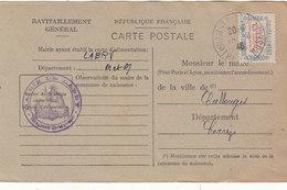 LABRY : CARTE DE RAVITAILLEMENT GENERAL.TIMBREE. NON OBLITEREE.1946.T.B.ETAT.A SAISIR.PETIT PRIX. - Francia