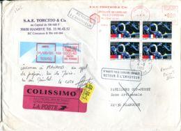 N°61 P -pli En Colissimo -affranchissement + Vignette Hambye- Cachet Retour Envoyeur - Colis Postaux