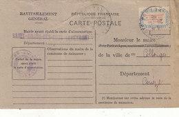 ST. AMANS DES COTS : CARTE DE RAVITAILLEMENT GENERAL.TIMBREE. OBLITEREE.1946.ETAT TRES CORRECT .A SAISIR.PETIT PRIX. - France