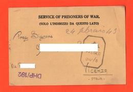 POW India Prisoners  Of War Prigionieri Di Guerra Prisonniers De Guerre From BOMBAY Camp To Vicenza 1942 - Documents