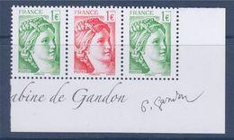 = Issu Du Bloc (de 12)  40 Ans De La Sabine De Gandon 2 N°5180 Et 1 N°5179 Petit Format 1.00€ Neuf Horizontal Signature - 1977-81 Sabine Of Gandon