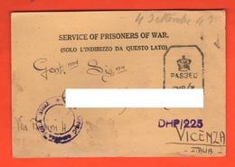 POW India Prisoners  Of War Prigionieri Di Guerra Prisonniers De Guerre From BOMBAY Camp To Vicenza 1943 - Documents