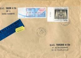 N°73 P -pli En Colissimo -affranchissement - Vignette Hambye- - Colis Postaux