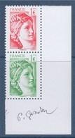 """= Issu Bloc De 12 """"40 Ans De La Sabine De Gandon""""  Rouge 5179 Et Vert 5180 Petit Format 1.00€ Neuf Paire Verticale - 1977-81 Sabine Of Gandon"""