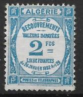 ALGERIE TAXE RECOUVREMENT 2F BLEU CLAIR N° 20 NEUF * GOMME COULEE AVEC CHARNIERE - Portomarken