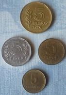 LOTE DE 4 MONEDAS DE ARGENTINA DE 5 PESOS Y 5 CENTAVOS - Argentina