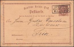 Postkarte P 1 Adler In Ellipse 1/2 Groschen SPEICHER REG. BEZ. TRIER 8.11.1872 - Ganzsachen